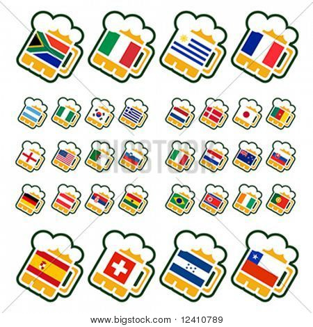 Beer glasses with flags of the leading soccer countries