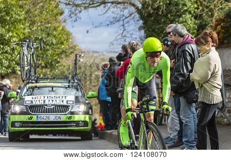 Conflans-Sainte-HonorineFrance-March 6 2016: The Dutch cyclist Dylan van Baarle of Cannondale Team riding during the prologue stage of Paris-Nice 2016.