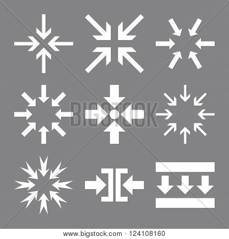 Minimize Arrows vector icon set. Collection style is white flat symbols on a gray background. Minimize Arrows icons.