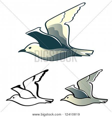 Vuelo diseños Albatros (o Gaviota) aislados