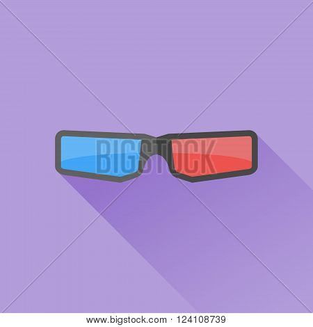 3D cinema glasses flat icon with long shadow on purple background