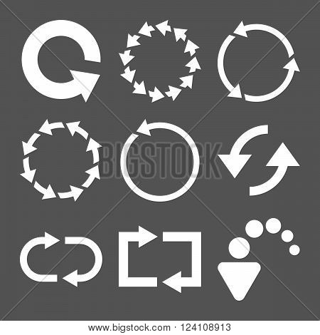 Rotate Arrows vector icon set. Collection style is white flat symbols on a gray background. Rotate Arrows icons.