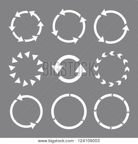 Rotation Direction vector icon set. Collection style is white flat symbols on a gray background. Rotation Direction icons.