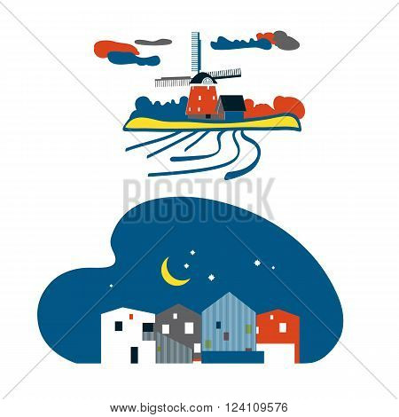 Netherlands landscape. Vector illustration . Dutch windmill with landscape and clouds.