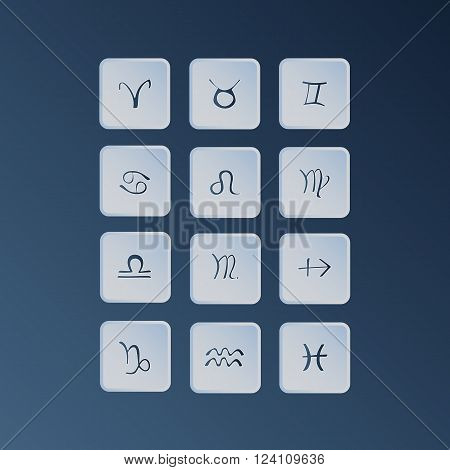 Zodiac symbols. Zodiac vector icons set. Astrology and fortunetelling concept.