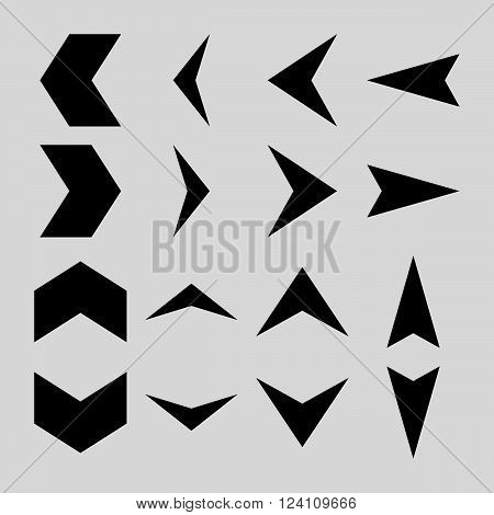 Arrowheads vector icon set. Collection style is black flat symbols on a light gray background. Arrowheads icons.