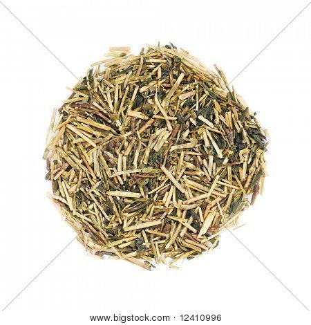 Green japanese Kukicha (twig or stalk or stick) tea popular at macrobiotic diet