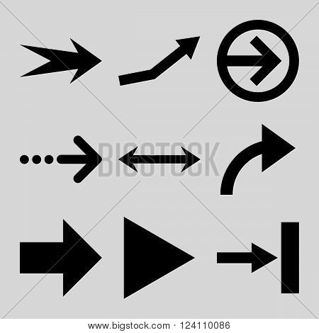 Direction Arrows vector icon set. Collection style is black flat symbols on a light gray background. Direction Arrows icons.
