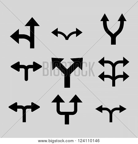 Divide Arrows vector icon set. Collection style is black flat symbols on a light gray background. Divide Arrows icons.