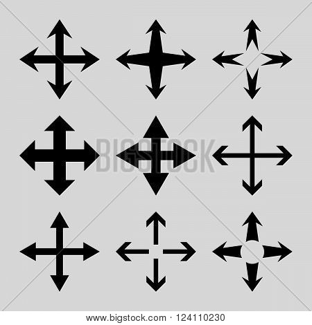 Expand Arrows vector icon set. Collection style is black flat symbols on a light gray background. Expand Arrows icons.