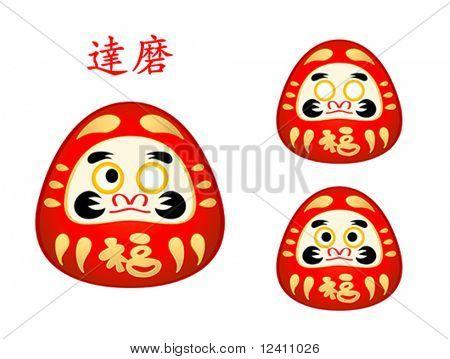 Three phase of Daruma doll eyes and name in japanese
