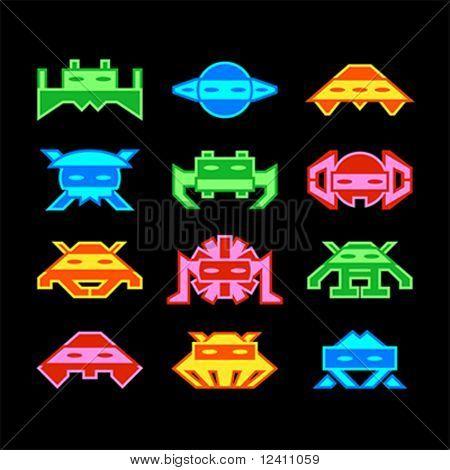 Custom designed space aliens similar to old arcade game