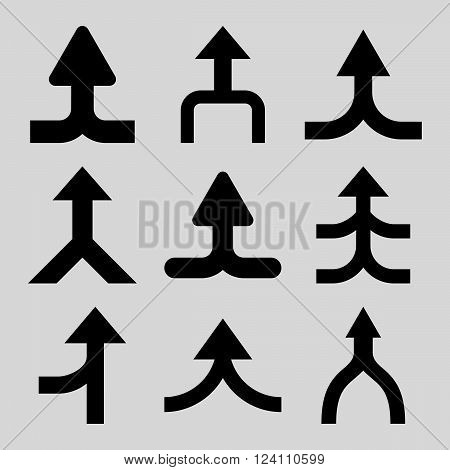 Merge Arrows Up vector icon set. Collection style is black flat symbols on a light gray background. Merge Arrows Up icons.