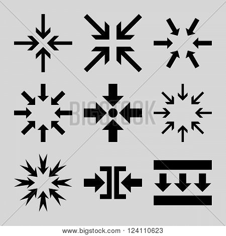 Minimize Arrows vector icon set. Collection style is black flat symbols on a light gray background. Minimize Arrows icons.
