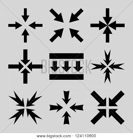 Pressure Arrows vector icon set. Collection style is black flat symbols on a light gray background. Pressure Arrows icons.