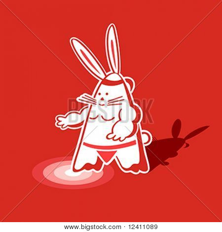 Mighty sumo rabbit warrior ready to step into the ring