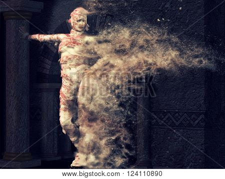 3D render of a female mummy disolving into sand.