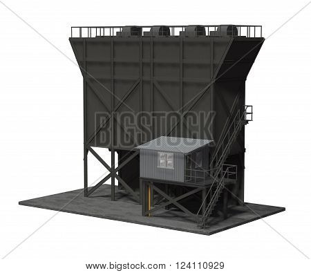 3D render of a industrial feed hopper isolated on white.