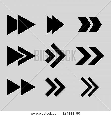 Right Direction vector icon set. Collection style is black flat symbols on a light gray background. Right Direction icons.