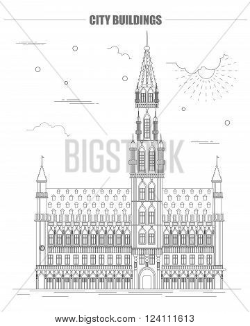 City buildings graphic template. Belgium town hall. Vector illustration