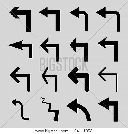 Turn Left vector icon set. Collection style is black flat symbols on a light gray background. Turn Left icons.