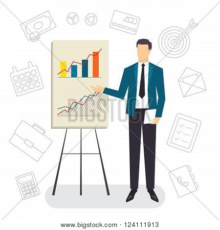 Business Coaching, project presentation with growing chart. Vector illustration