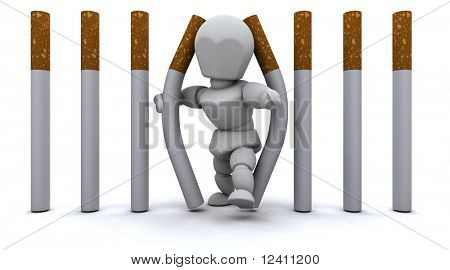 3D render of a Man escaping Cigarette Prison