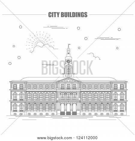 City buildings graphic template. Town hall. Rigas dome. Vector illustration