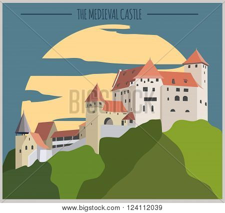 City buildings graphic template. Liechtenstein. Vector illustration