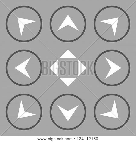 Circled Arrowheads vector icon set. Collection style is bicolor dark gray and white flat symbols on a silver background. Circled Arrowheads icons.