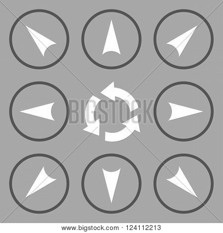Circled Directions vector icon set. Collection style is bicolor dark gray and white flat symbols on a silver background. Circled Directions icons.