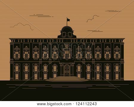City buildings graphic template. Grand Master Palace. Vector illustration