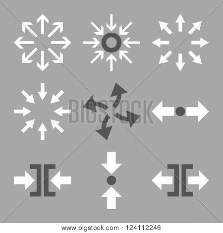Compress and Explode Arrows vector icon set. Collection style is bicolor dark gray and white flat symbols on a silver background. Compress And Explode Arrows icons.