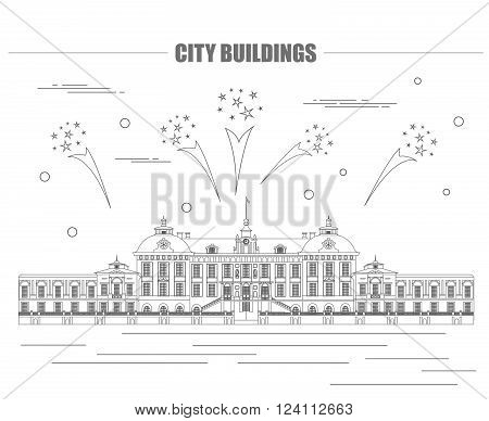 City buildings graphic template. Royal Palace Stockholm. Vector illustration
