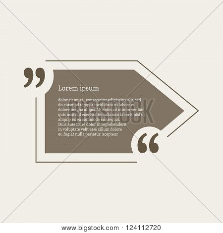 Quotation mark speech bubble. Empty quote blank citation template. Pointer design element for business card, paper sheet, information, note, message, motivation, comment etc. Vector illustration.
