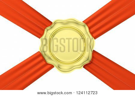 Gold Wax Seal On Red Ribbon Diagonal Cross Isolated On White