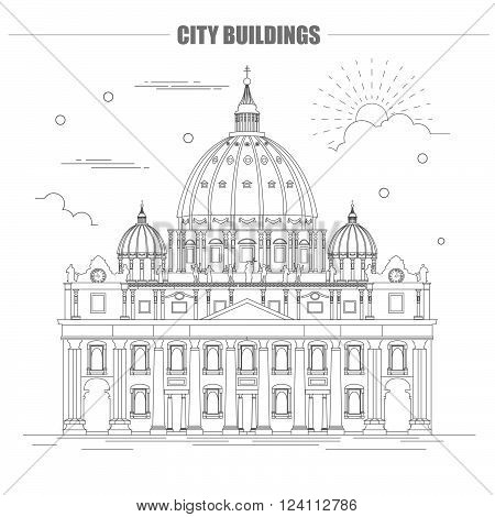City buildings graphic template. Saint Pyotr Cathedral. Vector illustration