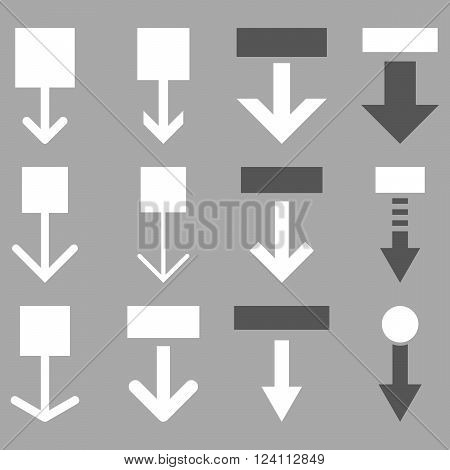 Pull Down vector icon set. Collection style is bicolor dark gray and white flat symbols on a silver background. Pull Down icons.