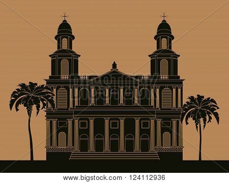City buildings graphic template. Nicaragua. Vector illustration