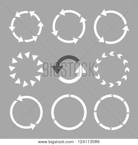 Rotation Direction vector icon set. Collection style is bicolor dark gray and white flat symbols on a silver background. Rotation Direction icons.