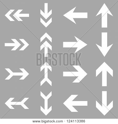 Arrow Directions vector icon set. Collection style is white flat symbols on a silver background. Arrow Directions icons.