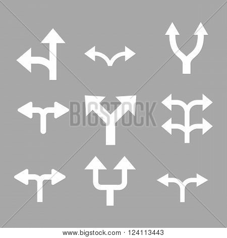 Divide Arrows vector icon set. Collection style is white flat symbols on a silver background. Divide Arrows icons.