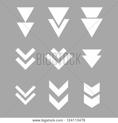 Down Direction vector icon set. Collection style is white flat symbols on a silver background. Down Direction icons.