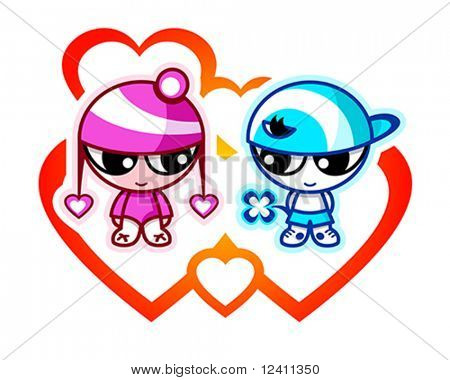 Cute kids in first Valentine love with hearts