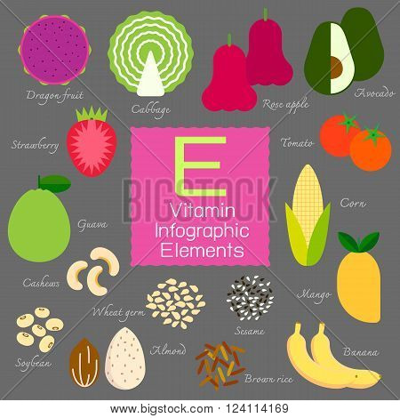 Vitamin E infographic flat design element. Vector illustration.