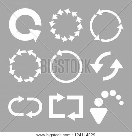 Rotate Arrows vector icon set. Collection style is white flat symbols on a silver background. Rotate Arrows icons.