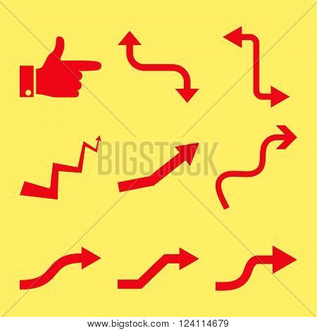 Curved Way Directions vector icon set. Collection style is red flat symbols on a yellow background. Curved Way Directions icons.