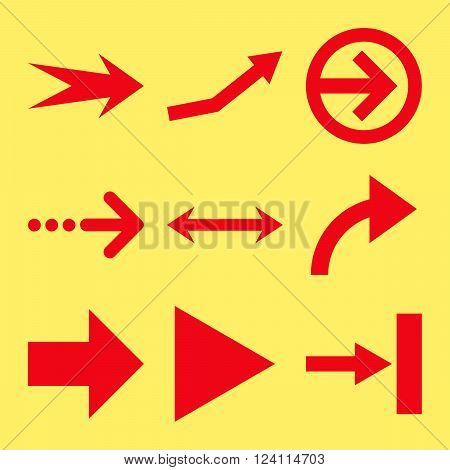 Direction Arrows vector icon set. Collection style is red flat symbols on a yellow background. Direction Arrows icons.