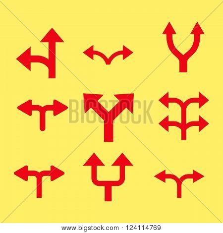 Divide Arrows vector icon set. Collection style is red flat symbols on a yellow background. Divide Arrows icons.