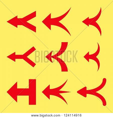Join Arrows Left vector icon set. Collection style is red flat symbols on a yellow background. Join Arrows Left icons.
